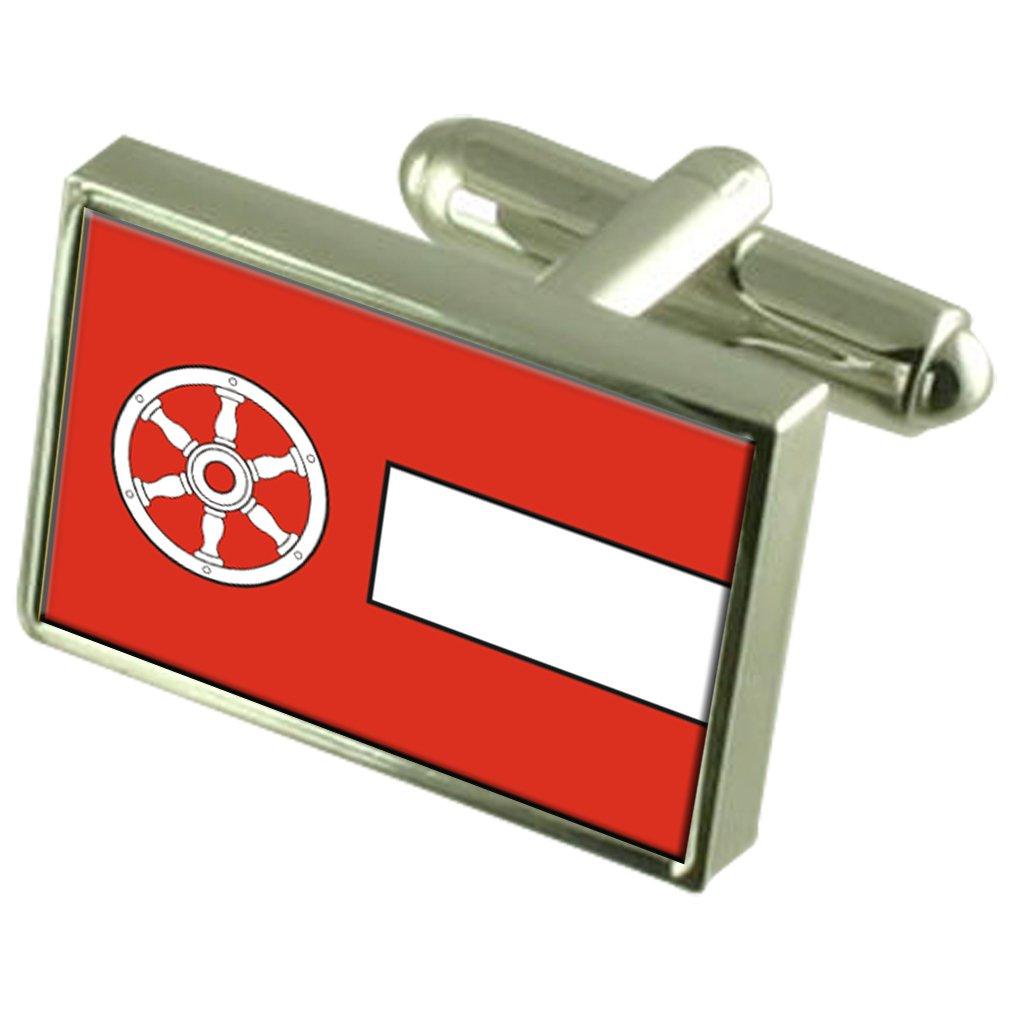 エルフルト市内ドイツの国旗カフスボタン刻まれたボックス   B071YJP8RG