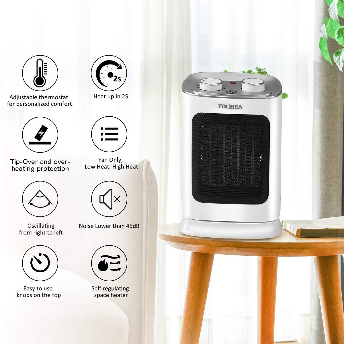 Bianco FOCHEA Termoventilatore 1800W 3 Livelli di Temperatura Stufa Elettrica Oscillante con Tecnologia Ceramica a Basso Consumo Energetico Silenzioso Potente e Compatto Termostato Ambiente