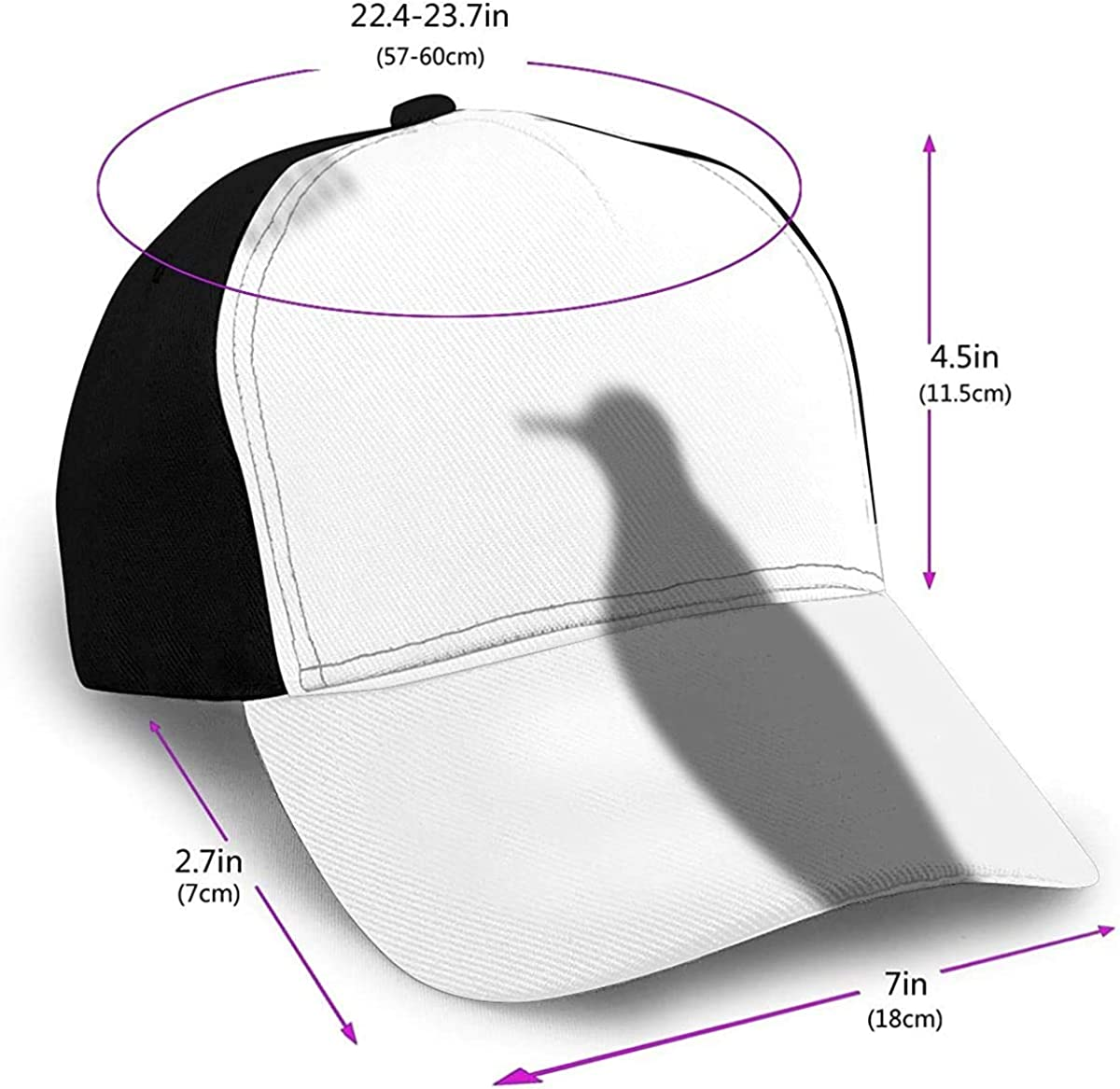 Animals Collection Penguin Shadow Lightweight Unisex Baseball Caps Adjustable Breathable Sun Hat for Sport Outdoor Black