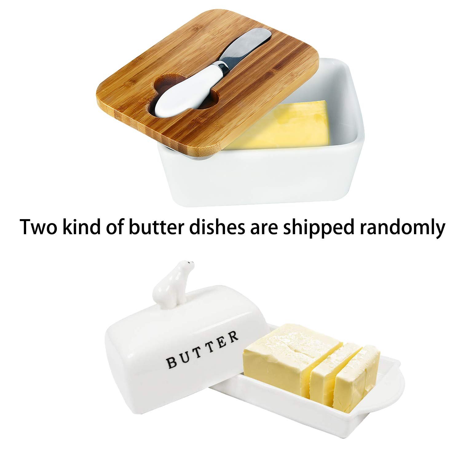 Butter Dish with Lid, OAMCEG Porcelain Butter Keeper with Airtight Cover Holds 2 Sticks of Butter - Includes Tray With Cover