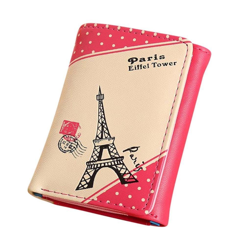 Dacawin girls Paris Eiffel Tower Short Wallet Card Holders Handbag (Hot Pink)