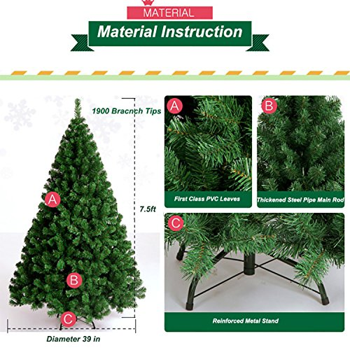 7.5-feet First Class Christmas Pine Trees 1900 Tips Branches Artif (Large Image)