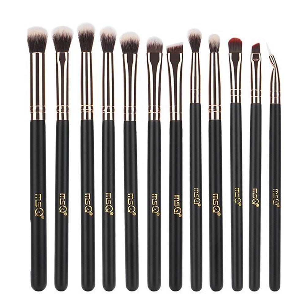 MSQ Eye Makeup Brushes 12pcs Rose Gold Eye Makeup Brushes Set with Soft Natural Hairs & Real Wood Handle for Eyeshadow, Eyebrow, Eyeliner, Blending - Rose Gold(without bag)