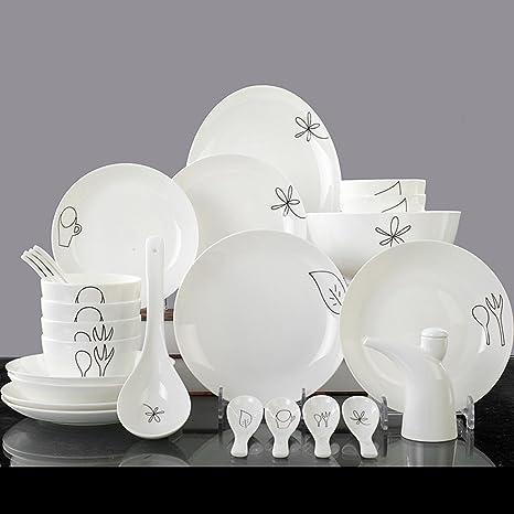 28 Cubertería Vajilla Práctico cerámica 8 cuencos, 4 arandelas 4, 1 pescado Bol,