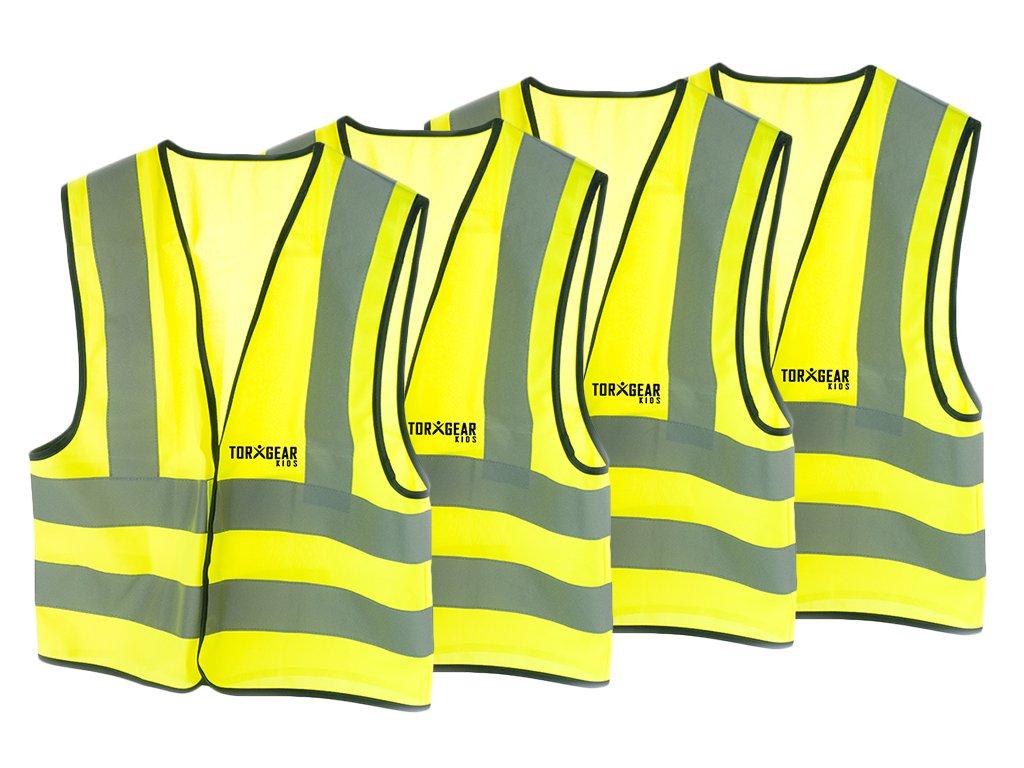 torxgear Kids子、子供たちの高視認性安全ベストアパレル、4反射ストリップ B071L336T9 4パック