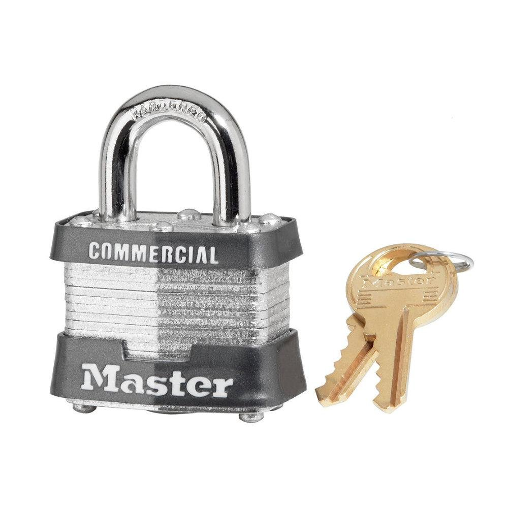 6 Pack Master Lock 3KA-0356 1-9/16'' Wide Keyed Alike Commercial Grade Laminated Padlock with 3/4'' Shackle Height - Keyed to 0356 Key Code