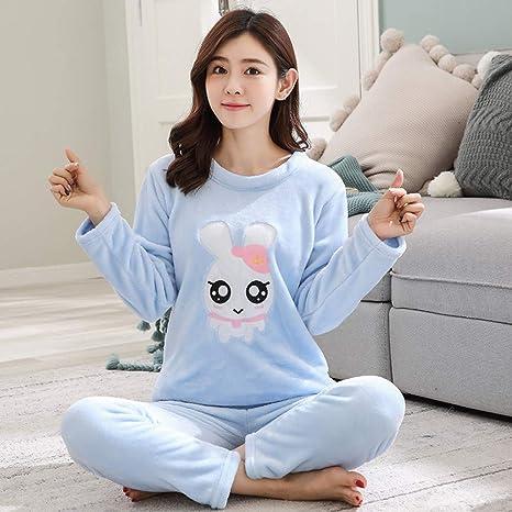 JYLW Pijamas Invierno Mujer Pijama Adulto Conjunto De Traje ...