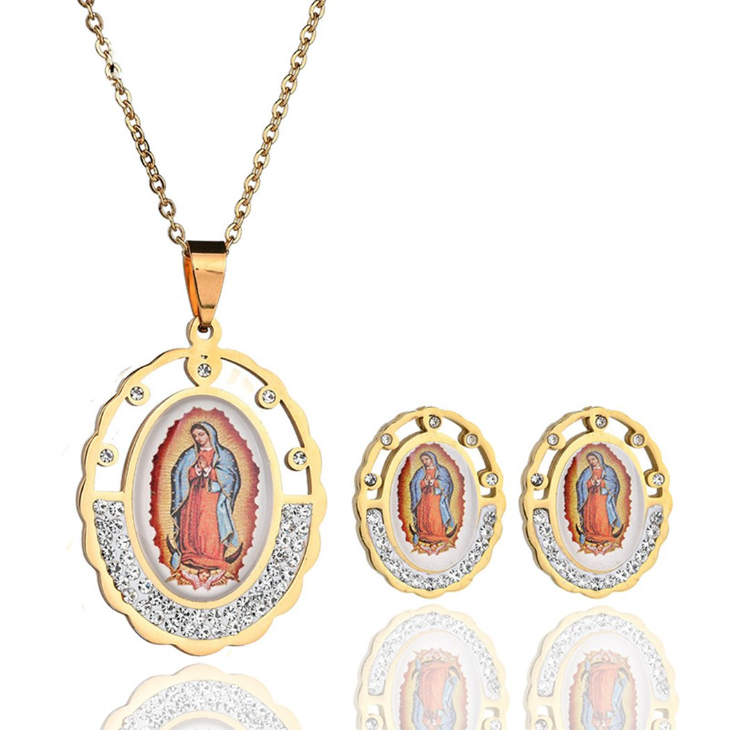 Virgin Mary Jewelry Set Religious Oval Mother Mary Pendant Necklace Earrings Catholic Christian Jewelry Qiandi