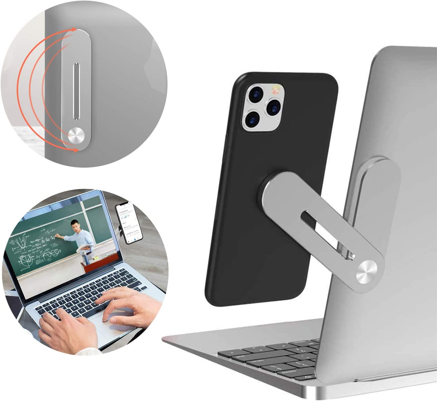 Eamplest Side Mount Clip on Monitor, Magnetic Laptop Stand with Phone Holder Computer Expansion Bracket for Smartphone Cellphone,Enjoying Dual Screen at The Same Time