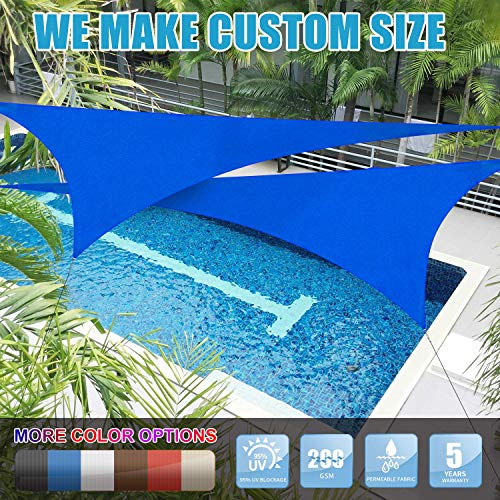 Amgo Custom Size 5 x 5 x 5 Blue Triangle Sun Shade Sail Canopy Awning, 95 UV Blockage, Water Air Permeable, Commercial and Residential Available for Custom Sizes