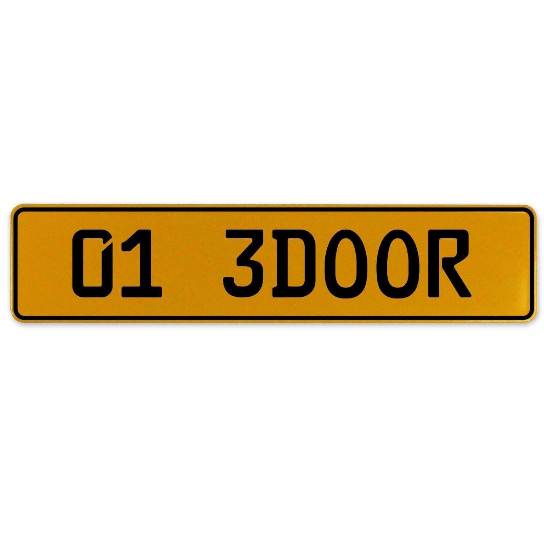 Vintage Parts 563014 01 3DOOR Yellow Stamped Aluminum European Plate