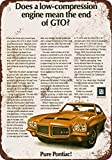 "9"" x 12"" METAL SIGN - 1971 Pontiac GTO - Vintage Look Reproduction"
