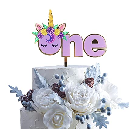 Amazon Purple Unicorn Horn Garland Birthday Cake Topper Baby Shower One Year Old Party First Wedding Anniversay Decoration