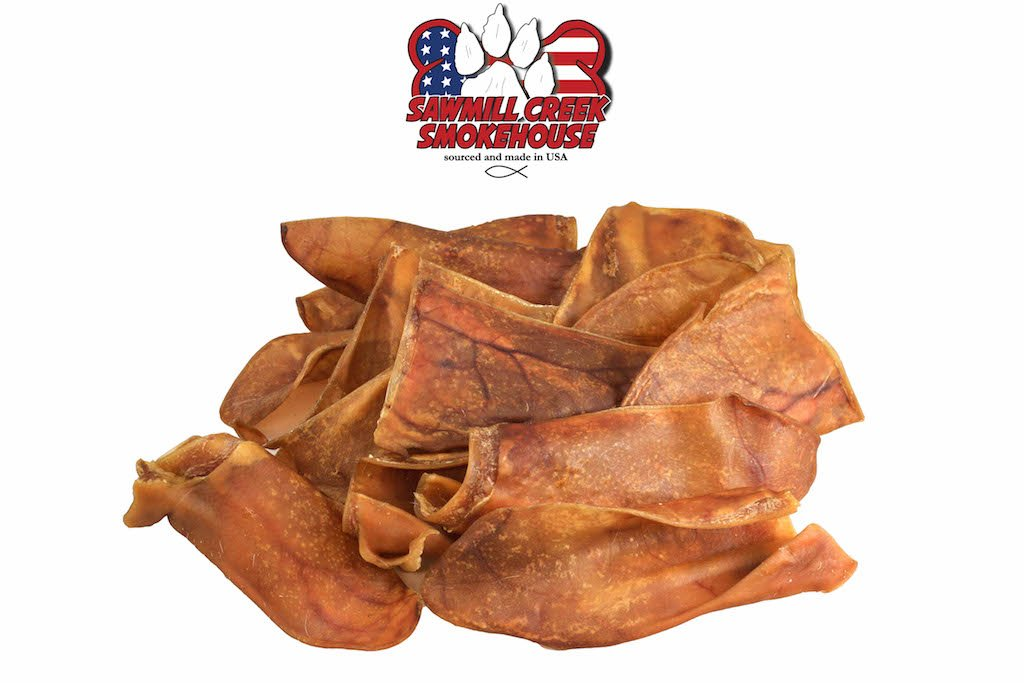 Pig Ear Half Chews, Sourced & Made USA, All Natural & Hickory Smoked (4)