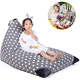 Stuffed Animal Storage Bean Bag Chair for Kids and Adults. Premium Canvas Stuffie Seat - Cover ONLY ( Grey with White Stars 200L/52 Gal )