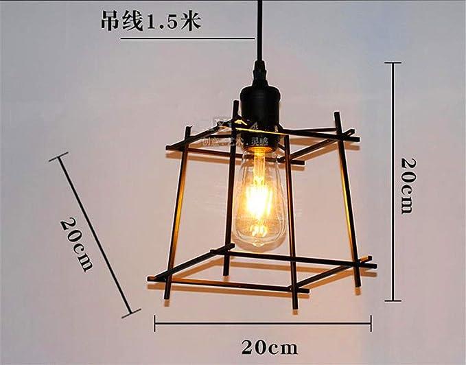 Plafoniere Sospensione Per Ufficio : Lightoray lampada a sospensione retrò in ferro battuto semplice cubo