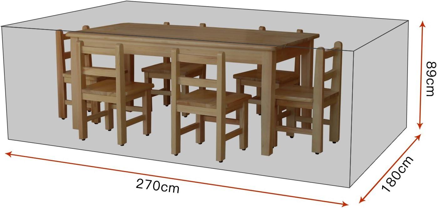 da esterno Fodera protettiva per mobili da giardino rettangolare fodera in tessuto 420D Oxford per tavolo e sedie 200 x 160 x 70 cm impermeabile