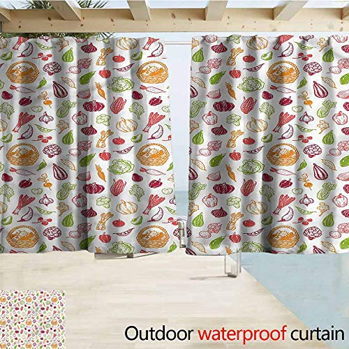 MaryMunger Rod Pocket Curtains Vegetables Colorful Doodle Salad Darkening Thermal Insulated Blackout W63x63L Inches