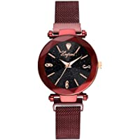 Starry Sky Watch for Women, Crystal Dial Analog Quartz Wristwtach with Magnetic Mesh Steel Band Bravetoshop P9831