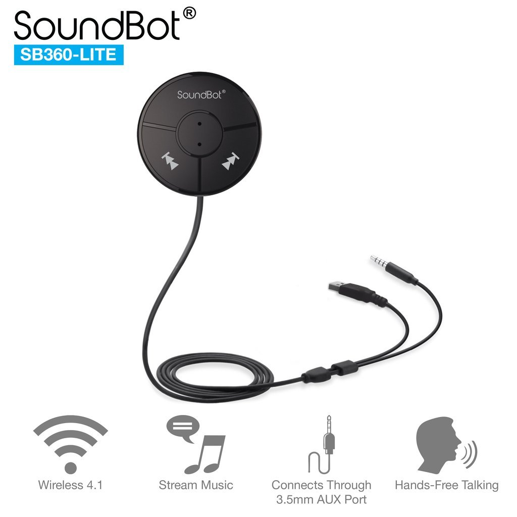 SoundBot SB360 LITE Bluetooth Wireless 4.0 Car Kit Hands-Free Wireless Talking & Music Streaming Dongle w/Magnetic Mounts + Built-in 3.5mm Aux Cable