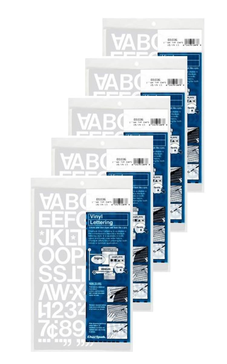 Chartpak 1-inch White Stick-on Vinyl Letters & Numbers (01036), 5 PACKS