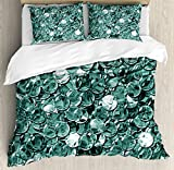 Pearls King Size Duvet Cover Set by Ambesonne, Crystal Clear Balls Coins Pattern Never Ending Liquid Objects Monochrome Design Print, Decorative 3 Piece Bedding Set with 2 Pillow Shams, Teal