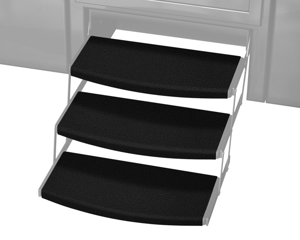 Prest-O-Fit 3-Pack 2-4110 Outrigger Radius XT RV Step Rug Black Onyx 22 in. Wide