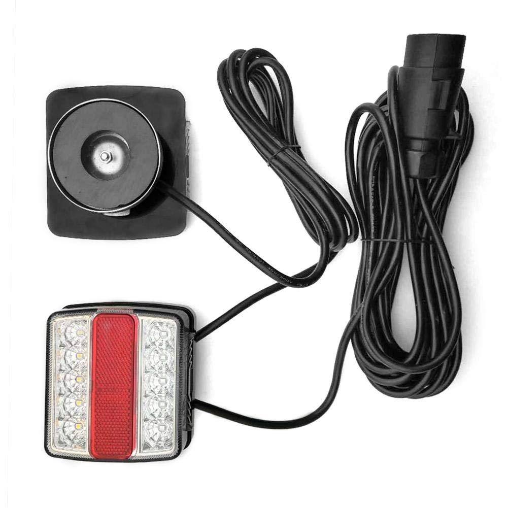 Fanale Posteriore a Magnete Illuminazione di rimorchio LED Sinistra e Destra con Cavo di 10 m per circolazione Stradale Funihut luci Posteriori con Piede Magnetico luci LED Arancione e Rosso