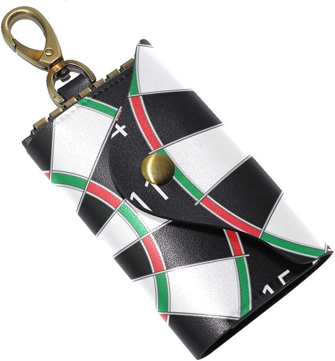 KEAKIA Dartsboard Leather Key Case Wallets Tri-fold Key Holder Keychains with 6 Hooks 2 Slot Snap Closure for Men Women