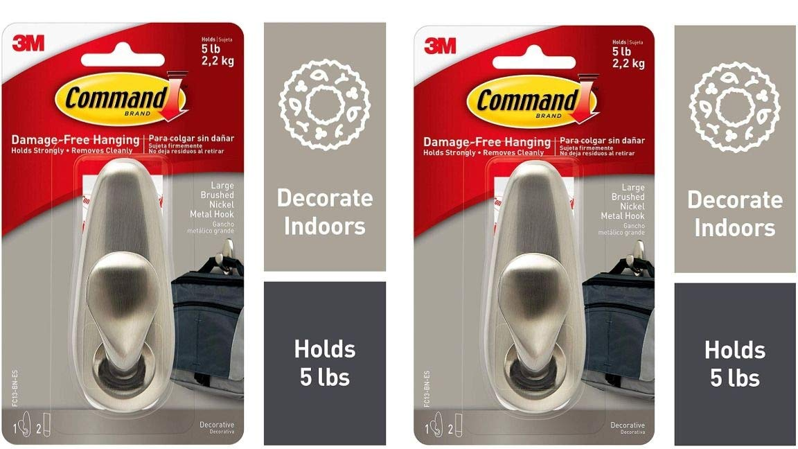 FC13-BN-ES Indoor Use Decorate Damage-Free 5 Pack Command Metal Hook