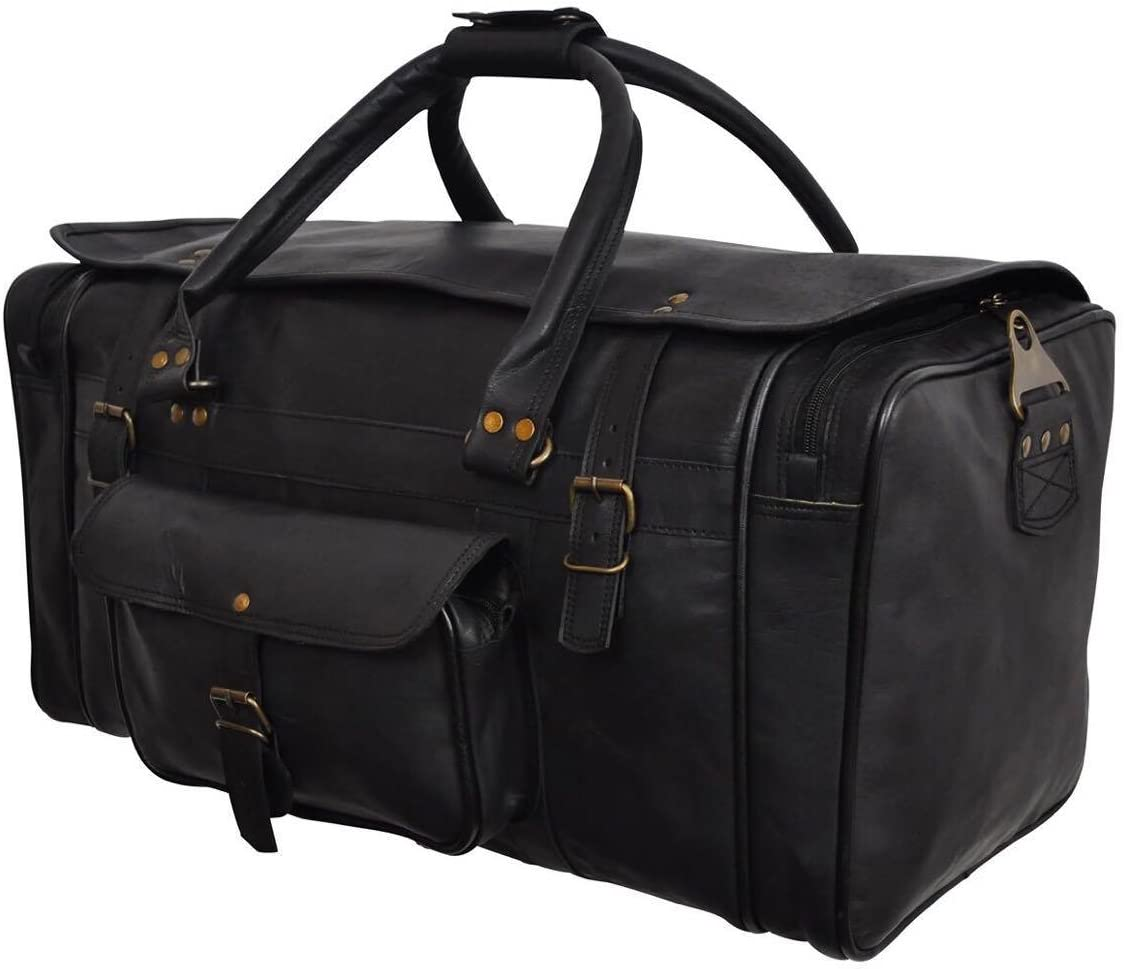 Leather Duffel Weekend Bag CarryOn Luggage Travel Bag Overnight Bag by 812