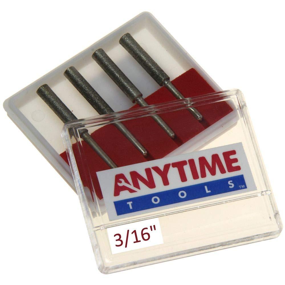 "Anytime Tools 3/16"" Diamond Chainsaw Sharpener Burr 1/8"" Shank, 4 Pack"