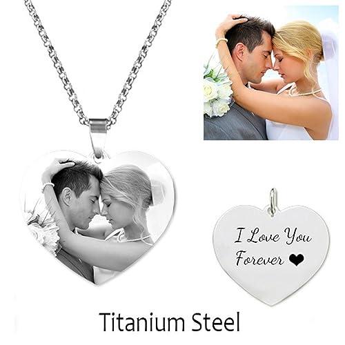miglior valore 9f9db 13585 Collana con scritta personalizzata con foto Necklace Heart ...