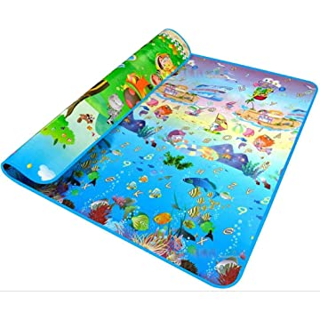Lantusi 2x1.8 Meter Toddler Crawling Mat Double Sided Ocean Themed Printed Mat Baby Gyms & Playmats