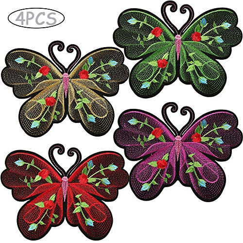 4 Large Iron on Cute Butterfly Applique Patches for Women Colored Embroidered Appliques Badge Set Sticker Sew on Patches for Girls Garment Craft DIY Decor Repair & Decorate Clothing Jeans Jackets Bags