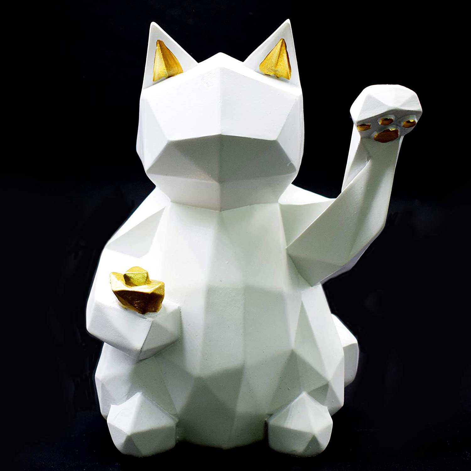 FUNSXBUG 7 Inch Art Money Lucky Cat Statue Sculpture Collectible Figurine, Gift for Business Opening,Feng Shui Home Decor Attract Wealth and Good Luck (White)