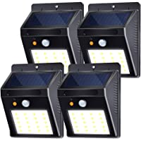 Luz Solar Jardín, Lámpara Solar Exteriors20 LED 120°Sensor de Movimiento Luces Solares IP65 Impermeable con 3 Modos Inteligentes para Jardín, Patio, Camino, Escalera (4 Pack, Blanco Frio 6000K)