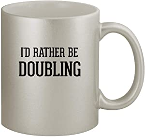I'd Rather Be DOUBLING - 11oz Silver Coffee Mug Cup, Silver