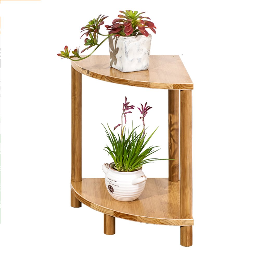 LJHA huajia Combination of Fan-Shaped Balcony Flower Rack Solid Wood Multi-Storey Living Room Floor pots Simple Bamboo Flower Shelf (Size Optional) by GYH Flower stand