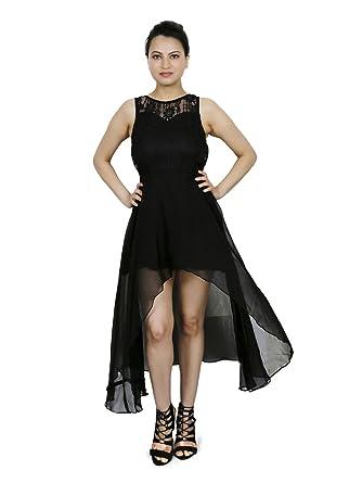 054172ffd0c Express 2 Impress Women's smart black georgette high low dress w ...
