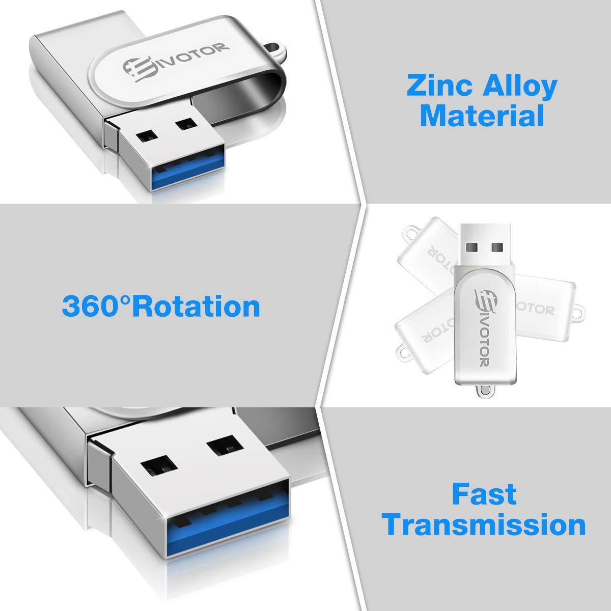 T/él/éphones Tablettes Cl/é USB jusqu/à 140 Mo//s en Lecture EIVOTOR 64GB Mini Lecteur Flash M/émoire /Étanche 2 en 1 3.0 Memory Stick Disque Flash Drive Type-C pour MacBook Voiture Ordinateurs