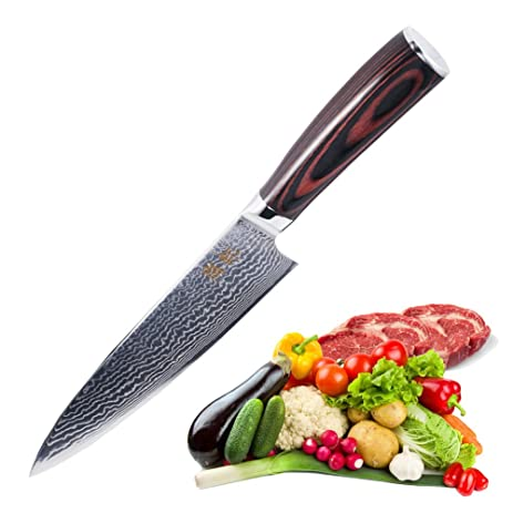 Chefs Knife 8 Inch Japanese VG10 Super Steel 67 Layers High Carbon Stainless Damascus
