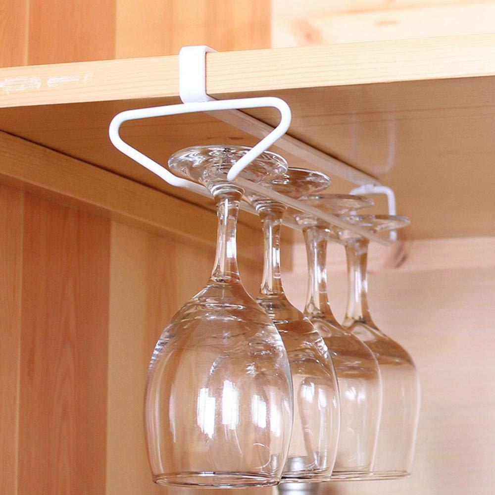 Porta Bicchieri di Vino sotto la mensola Fila Singola Calici in Acciaio Inossidabile Porta Bicchiere di Vino Portaoggetti Appendiabiti Organizzatore in Metallo per Cucina da Bar Senza Trapano