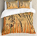 Wildlife Decor Duvet Cover Set by Ambesonne, Tiger in the Bushes Camouflage Carnivore Predator Feline Africa Animal Art, 3 Piece Bedding Set with Pillow Shams, King Size, Peach Orange
