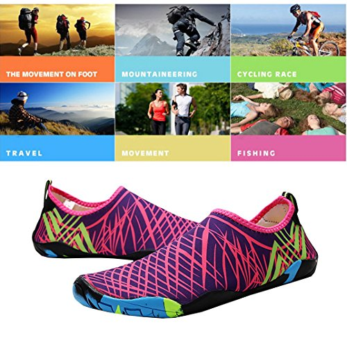 AHATECH Quick Dry Unisex Water Shoes for Adult, Breathable Beach Swim Shoes Water Aqua Shoes Socks for Surf Diving,Swimming, Snorkeling, Neoprene Rubber Sole Aqua Socks Pink