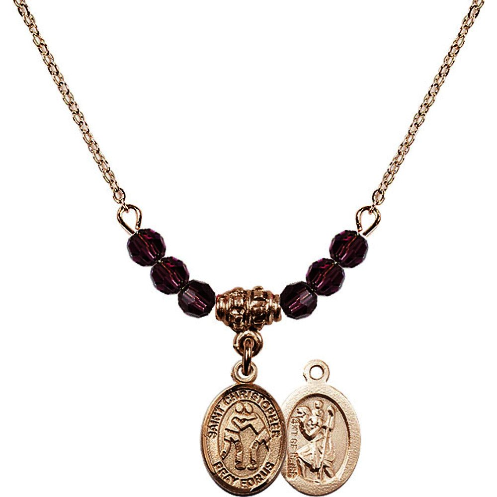 18-Inch Hamilton Gold Plated Necklace with 4mm Purple February Birth Month Stone Beads and Saint Christopher/Wrestling Charm