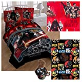 Disney Star Wars Episode VII Kids Twin Bedding - Reversible Comforter, Sheet Set with Reversible Pillowcase, Ultra Soft Throw Blanket and Chewbacca Pillow Buddy