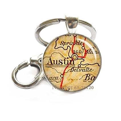 Map Of Texas With Austin.Amazon Com Austin Key Ring Austin Texas Austin Tx Map Keychain