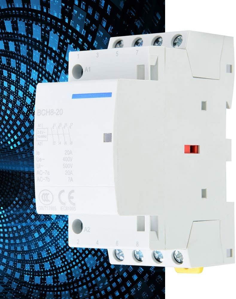 230V 50 60Hz Mat/ériau Disolation de S/écurit/é Pour Montage sur Rail DIN Avec Contacteur sur Rail DIN 4P 4NO 20A 24V 220V 24V