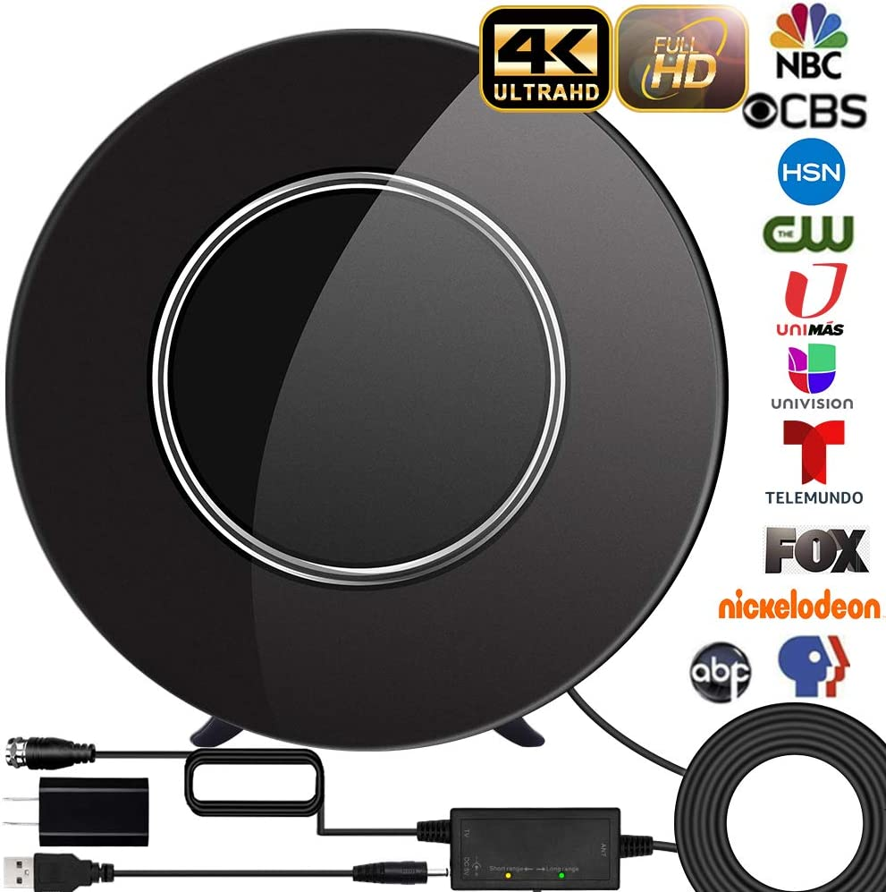 [Upgraded 2020] TV Antenna, Indoor HD Digtial Antenna Amplified 200 Miles Range Support 4K 1080P & All TV's Digital Antenna with Amplifier Signal Booster,17ft Coax Cable/USB Power Adapter (Black)